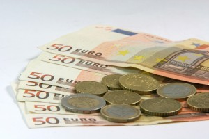 euro coins and notes